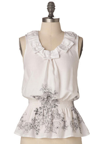 Sample 78 - White, Black, Floral, Bows, Casual, Sleeveless