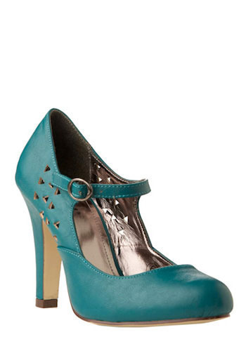 A-Cute Triangle Heel in Teal Blue