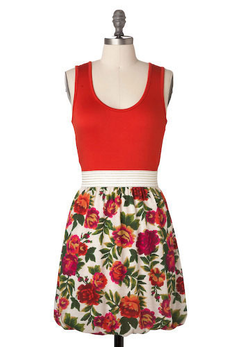 Sample 124 - Red, White, Multi, Floral, Casual, A-line, Sleeveless, Tank top (2 thick straps)