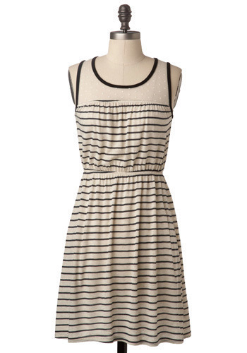 Sample 136 - Cream, Black, Stripes, Casual, A-line, Sleeveless, Tank top (2 thick straps)