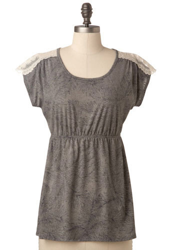 Sample 142 - Grey, Lace, Casual, Short Sleeves, Lace