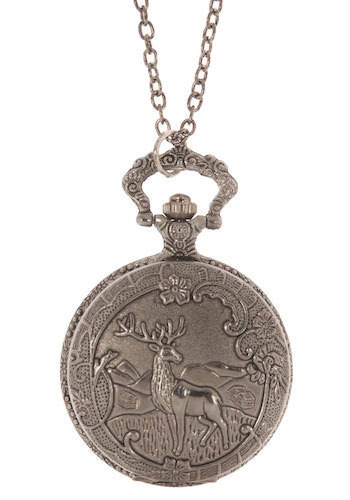 What Time Is It Deer Watch Necklace - Silver, Casual