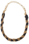 HOLD QA - Gold Chain Navy Ribbon Necklace - Black, Gold, Chain, Casual