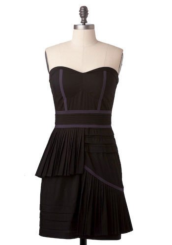 Sample 192 - Black, Purple, Pleats, Tiered, Casual, Sheath / Shift, Strapless