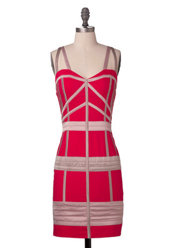 Sample 188 - Pink, Stripes, Party, Casual, Sheath / Shift, Sleeveless, Spaghetti Straps