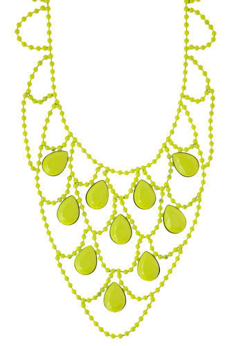 Highlight-her Necklace - Yellow, Casual, Statement, Press Placement