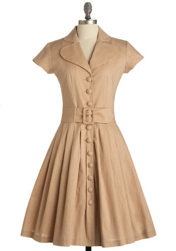 Beach Picnic Dress in Afternoon - Tan, Solid, Pleats, Casual, A-line, Short Sleeves, Long