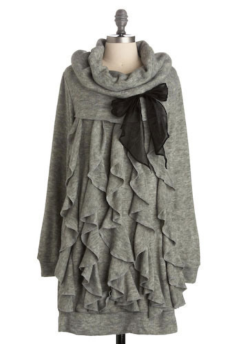 Rhapsody in Ruffles Sweater Dress by Ryu - Grey, Bows, Ruffles, Casual, Long Sleeve, Fall, Winter, Solid, Sweater Dress, Short
