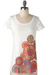 Yantra Tee - White, Red, Orange, Yellow, Green, Blue, Purple, Casual, Cap Sleeves, Spring, Summer, Mid-length