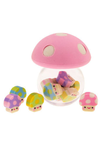Mushroom Kingdom Eraser Pot by Streamline - Pink, Green, Blue, Purple