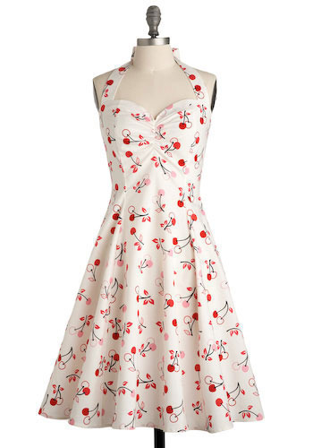 Cherry Valence Dress - White, Red, Pink, Black, Casual, Vintage Inspired, A-line, Halter, Spring, Summer, Short