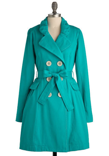 Turquoise Poise Trench by Nick & Mo - Long