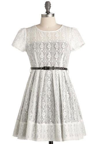 In Yo' Lace Dress - White, Black, Floral, Lace, Casual, A-line, Short Sleeves, Short