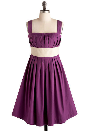 Kennebunkport Dress in Starboard - Purple, White, Pleats, Wedding, Party, Empire, Spaghetti Straps, Long