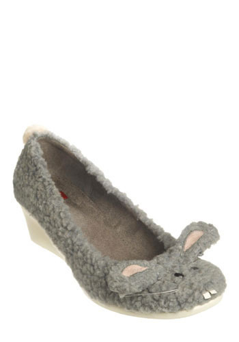 Hop to It Wedge by BC Footwear - Grey, Print with Animals, Novelty Print, Casual, Wedge, Mid