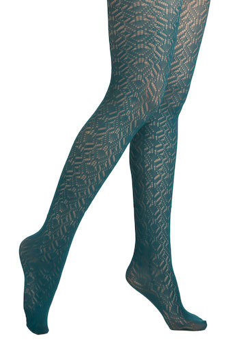 Pointelle Plié Tights in Elena - Green, Cutout, Knitted, Casual