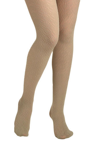 Pointelle Plié Tights in Natalia - Tan, Knitted, Casual, Vintage Inspired, Cutout