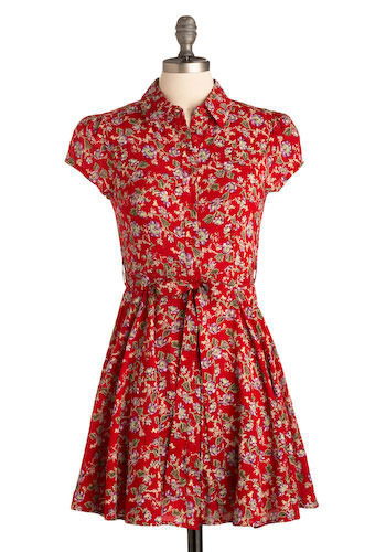 Literary Arts Dress - Red, Green, Purple, Floral, Bows, Buttons, Casual, A-line, Mini, Cap Sleeves, Short
