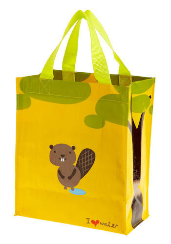 Eager to Recycle Tote - Yellow, Red, Green, Blue, Brown, Print with Animals, Casual