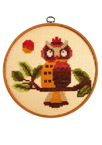 Vintage Onlooking Owl Cross-Stitch