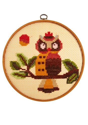 Vintage Onlooking Owl Cross-Stitch
