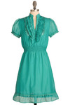 Phosphoresence Dress - Green, Solid, Ruffles, Trim, Casual, Vintage Inspired, A-line, Short Sleeves, Spring, Summer, Mid-length