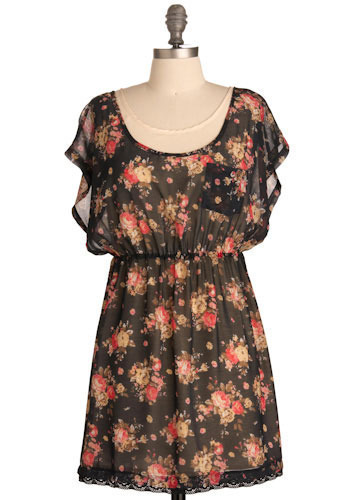 Blooming Tea Dress - Pink, Brown, Tan / Cream, Floral, Casual, A-line, Short Sleeves, Spring, Summer, Lace, Trim, Multi, Black, Short