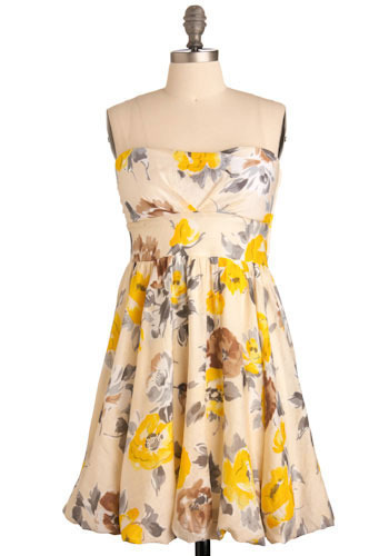 Orchid Grey Dress - Yellow, Cream, Brown, Floral, Casual, Empire, Strapless, Spring, Summer, Mid-length