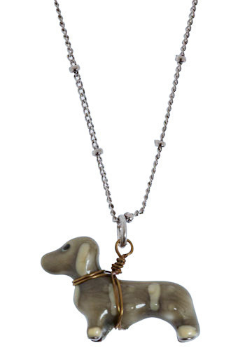 Blue the Dachshund Necklace - Brown, Cream, Silver, Gold, Casual