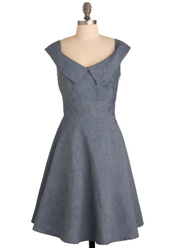 Afternoon Company Dress - Blue, Solid, Casual, A-line, Cap Sleeves, Spring, Summer, Mid-length