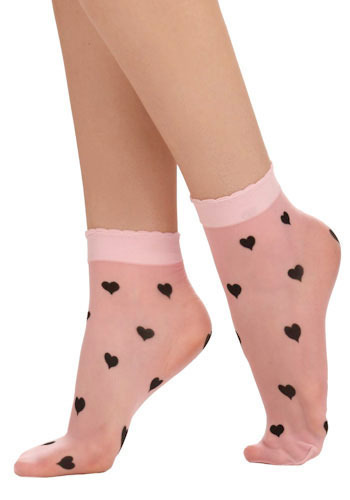 Betsey Johnson Know by Heart Socks in Pink by Betsey Johnson