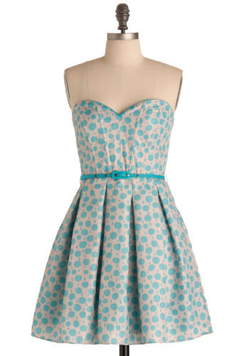 Soda Pop Dress - Blue, Tan / Cream, Polka Dots, Pleats, Special Occasion, Prom, Wedding, Party, A-line, Spaghetti Straps, Short