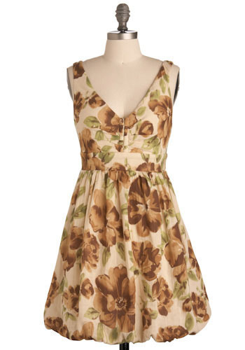 Make Arrangements Dress - Cream, Green, Brown, Tan / Cream, Floral, Pleats, Casual, A-line, Tank top (2 thick straps), Spring, Summer, Short