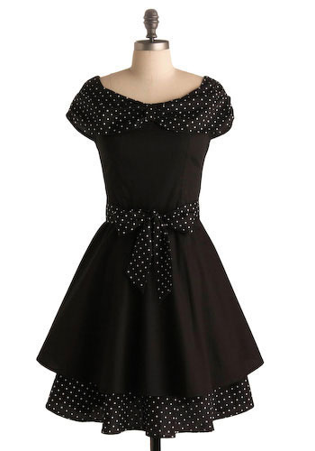 The Casserole Queens Dress - Black, White, Polka Dots, Bows, Tiered, Casual, A-line, Cap Sleeves, Mid-length