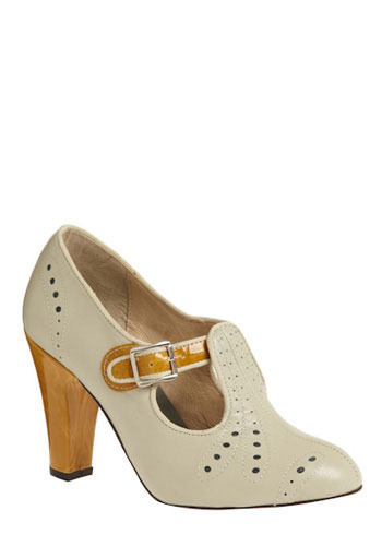 All Aboard Heel - Cream, Tan / Cream, Cutout, High, Best, T-Strap