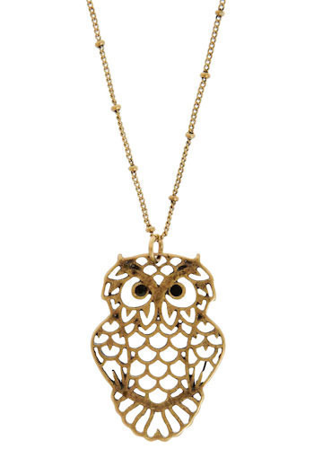 Great Horned Necklace - Silver, Gold, Casual, Owls