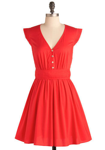 That's Amore Dress - Red, Solid, Casual, A-line, Cap Sleeves, Spring, Summer, Mid-length
