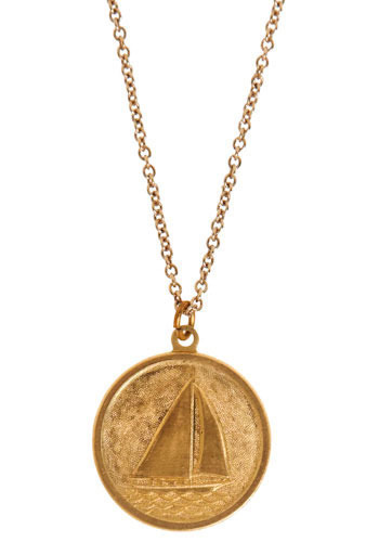 King Spoke Coin Necklace - Gold, Casual, Nautical