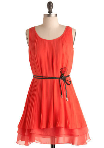 Haute Tropic Dress - Red, Orange, Solid, Pleats, Casual, Tent / Trapeze, Sleeveless, Spring, Summer, Short