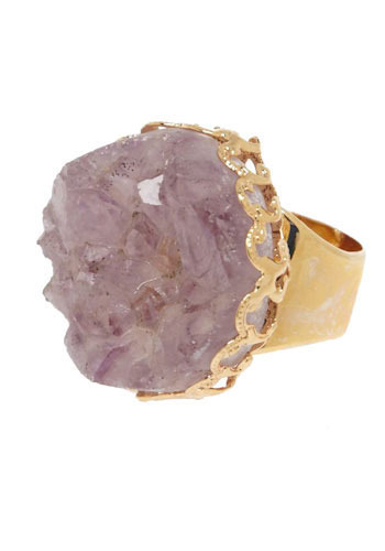 Crystalised Ring - Purple, Gold, Special Occasion, Casual, Statement