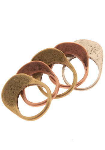 Keeping Tabs on You Ring Set - Silver, Gold, Copper