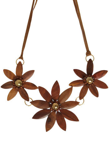 Woodsy Daisy Necklace - Brown, Gold, Casual, Spring, Summer