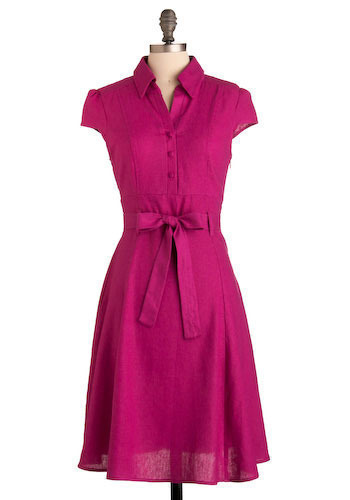 Deuce Coupe Darling Dress - Pink, Solid, Bows, Casual, Shirt Dress, Cap Sleeves, Spring, Summer, Long