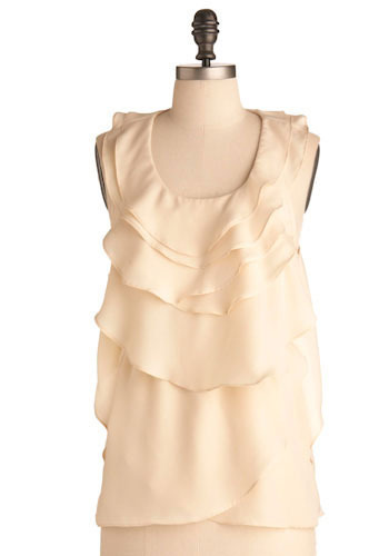 White Chocolate Mousse Top - Cream, Solid, Ruffles, Formal, Wedding, Party, Work, Sleeveless, Spring, Summer, Fall, Winter, Mid-length