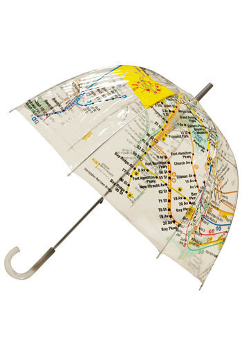 Raindrops on Railways Umbrella - Multi, Casual, Fall, Winter