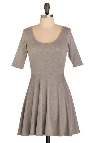 Simply Stylish Dress - Grey, Solid, Casual, A-line, 3/4 Sleeve, Short