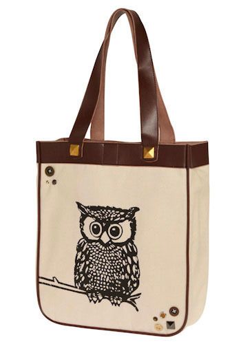 Owl Carry Your Things Bag - Cream, Brown, Print with Animals, Casual, Owls
