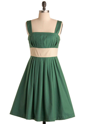 Kennebunkport Dress in Latitude - Green, Tan / Cream, Pleats, Special Occasion, Wedding, Party, Casual, Empire, Tank top (2 thick straps), Spring, Summer, Mid-length