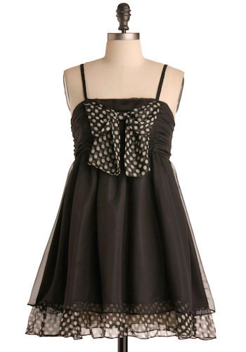 Hello, Dotty! Dress - Black, White, Polka Dots, Bows, Special Occasion, Prom, Wedding, Party, Vintage Inspired, Ballerina / Tutu, Mini, Spaghetti Straps, Short