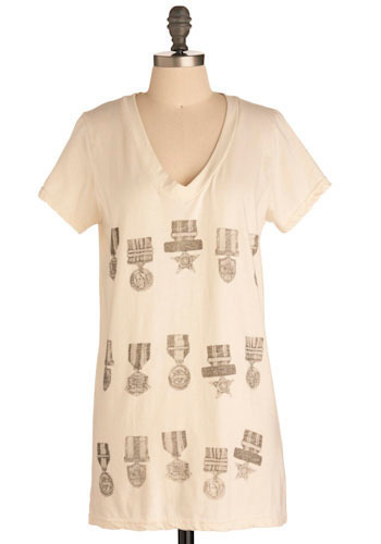 Award-winning Tee - White, Casual, Short Sleeves, Cream, Brown, Solid, Print, Military, Long